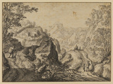 Mountain landscape with winding path and figures