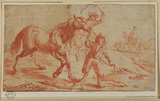 Boy leading a horse with figures on horseback in background