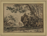 Landscape with figures walking and riding along a road