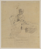 Lady seated at a table, sewing