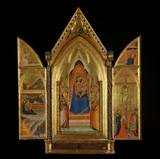 Triptych - Virgin and Child enthroned with saints, and God in an attitude of benediction (centre panel)