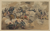 Battle scene - fight between cavalrymen and infantry