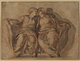 Two female figures, seated with hands resting on shields