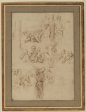 Sheet of studies after Giulio Romano