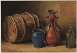 Still life with wooden barrel, blue vase, glass bottle and copper jug