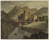 Landscape with river, castles and figures