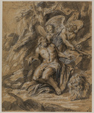 Saint Jerome in a landscape with lions and two angels