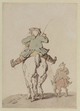 Two men riding, seen from behind