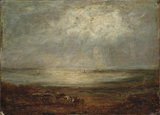 Beach scene with cart and horse