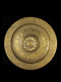 Dish of engraved brass with silver inlay