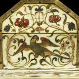 Ivory mounted wood casket painted with flowers, birds and animals (detail)