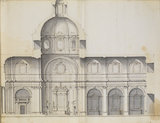 Long section of a large domed church