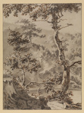 Wooded landscape with two trees, a man and a house