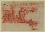 Design for a cartouche with an angel, male nude and decorative frame