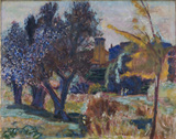 Landscape with olive trees and a chapel