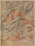 Magdalen kneeling, a right hand, a head and an arm