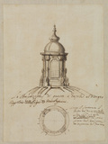 Plan and elevation of the dome and lantern of San Salvatore in Lauro, Rome