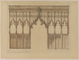 Front elevation of a screen in the church at North Creak, Norfolk (recto)