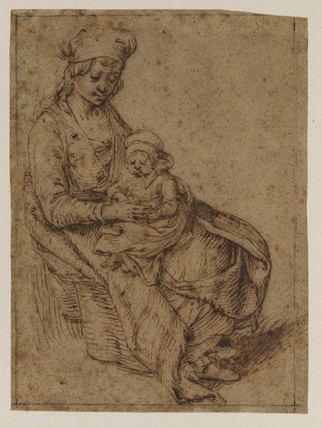 Seated woman holding a child on her lap