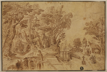 Saint Jerome in a landscape (recto)