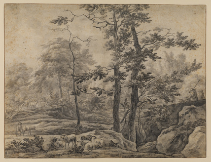 Landscape with sheep and shepherds