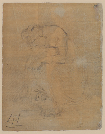 Woman seated, with a dog at her feet (verso)