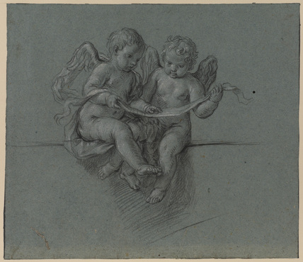 Two cherubs holding scroll