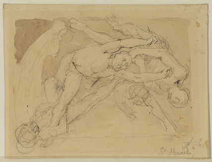 Nude figures of men falling (recto)