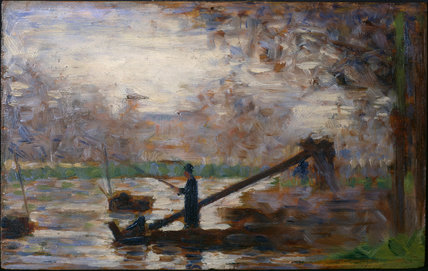 Fisherman in a moored boat