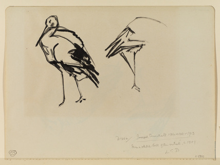 Two studies of a crane (recto)