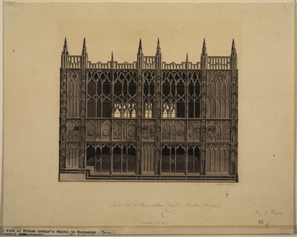 South side of of Prince Arthur's chapel, Worcester Cathedral
