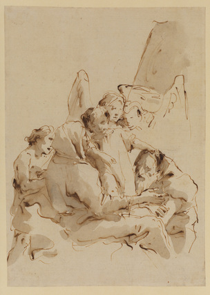 Holy Family surrounded by angels