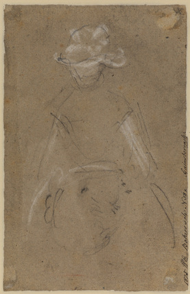 Two sketches of a female head (verso)