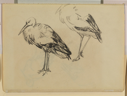 Two further studies of a crane (verso)