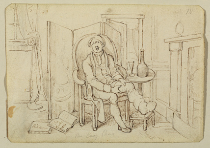 Man suffering from gout, resting by the fire-side