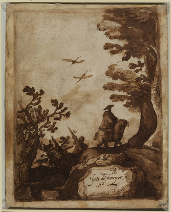 Landscape with trees, a horse and rider and standard-bearer (recto)