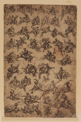 Sheet of figure studies (study for the ceiling of the Greenwich Hospital)