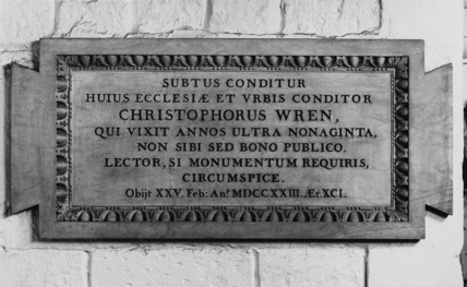 St Paul's Cathedral;The Crypt;Inscription Above the Tomb of Sir Christopher Wren