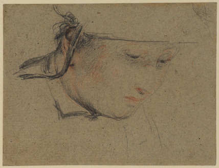 Head of a woman - study for 'The Cut Finger' (S.H. Whitbread collection, Southill)
