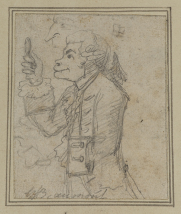 Caricature of a connoisseur (two slight sketches of a man's face partly covered by the drawing)