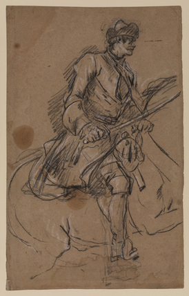 Mounted cavalryman with drawn sabre