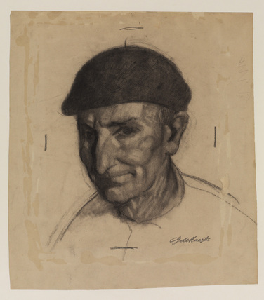 Head of a man in a beret, turned to the left