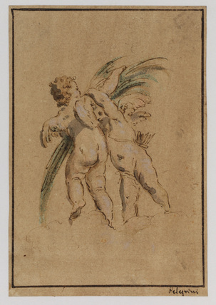 Two cupids with a palm
