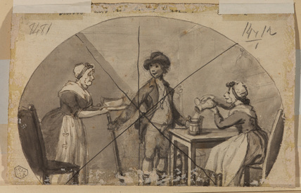 Scene with a youth and two women (verso)
