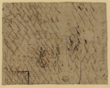 Sketch of the interior of a hall (verso)