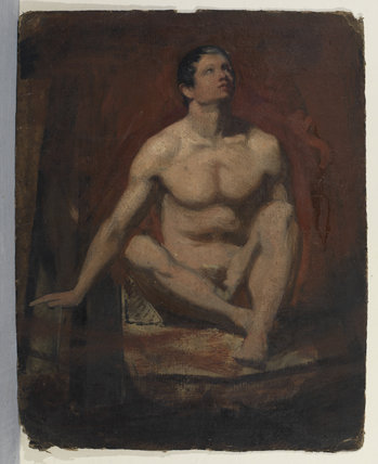 Seated male nude, frontal view (recto)