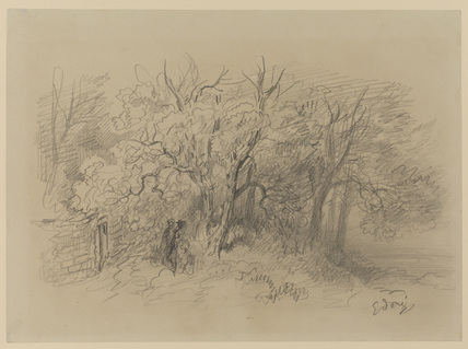 Two figures at the edge of a wood