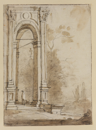 Landscape with side of portico of an Italian building, with man and dog