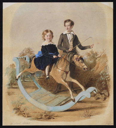 Girl on a rocking horse, and a boy with a whip