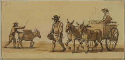 Man driving a donkey, and man leading a cart